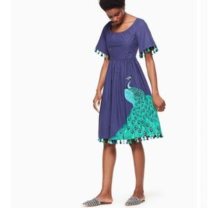 Kate Spade Plume Poplin Dress Peacock Blue Green